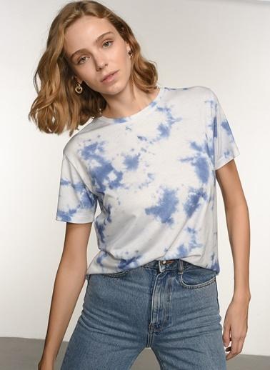 NGSTYLE Ngkss21Ts0091 Batik Baskılı Tshirt Mavi